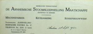 Briefhoofd van de Arnhemsche Stoomsleephelling Mij. waarvan de bouwlijst beschikbaar is.
